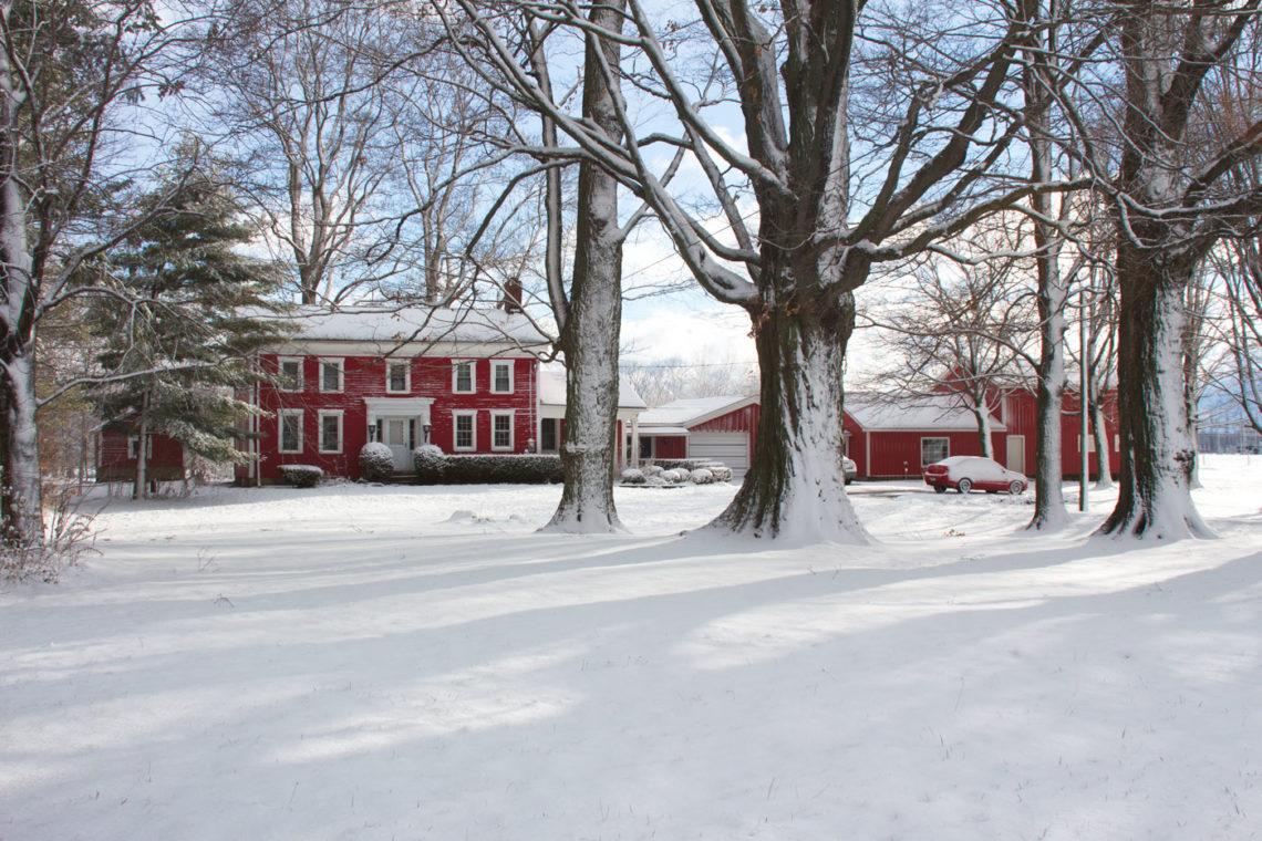 First snowfall - Little Red Farmstead