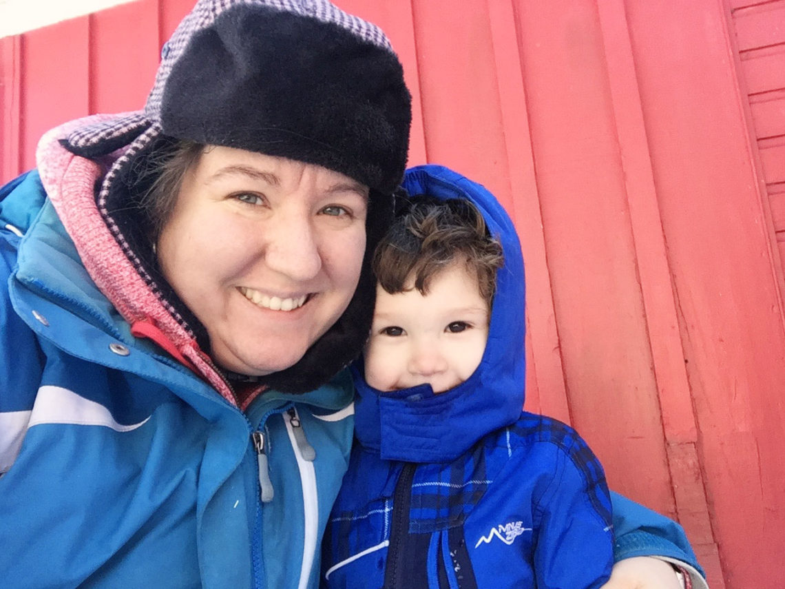 Myles & Mommy barn chores in the cold - Little Red Farmstead