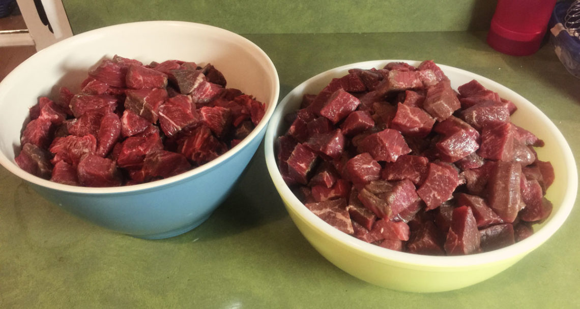 Cubed beef to be canned - Little Red Farmstead
